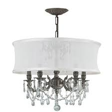 crystorama lighting group bwood pewter five light chandelier with swarovski strass crystal and smooth antique