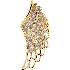 mens diamond open angel wing pendant