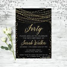40th Birthday Invitations Details About 40th Birthday Invitations Age Forty Personalised Party Supplies Invite Gold