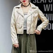 2018 2018 new fashion women motorcycle faux leather jackets lady soft pu biker coat zipper outerwear pink gold silver black hot from