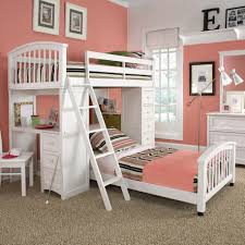 Awesome Awesome Modern Bedroom Idea For Teenage Girls With Pink And White Color  Combination Plus White Bunk Bed
