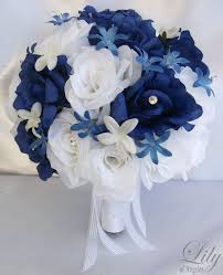 Light Blue And White Silk Rose Nosegay Bridal Wedding Bouquet