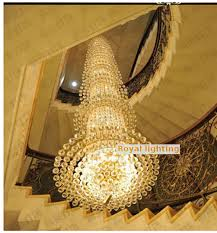 m large crystal cylinder font b chandelier b font led stair lighting luxury hotel mpatio