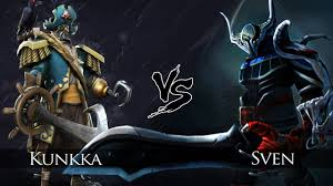dota 2 kunkka vs sven one click battle youtube