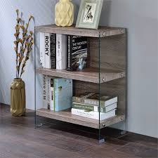 Glass shelves bookcase Ideas Diamond Industries Acme Armon Shelf Bookcase In Clear Glass And Gray Oak 92374