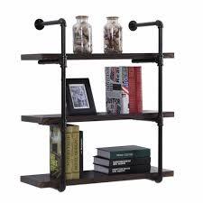 3 tier industrial wall shelf bracket