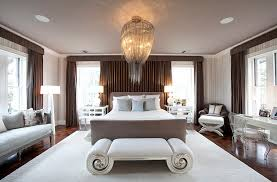 bedrooms master bedroom with gorgeous chandelier and white bed also unique bench seat bedroom lighting