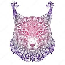 рысь тату декоративные сиреневый тату рысь векторное изображение
