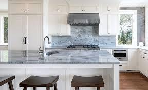 blue macaubus quartzite countertops on kitchen island and backsplash