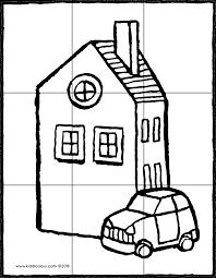 Puzzel Huis Met Een Auto Kiddicolour