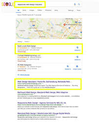 Website Designers Maryland First Page Google Search Results Screenshot For Responsive