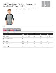 Lat Youth Vintage Fine Jersey Three Quarter Sleeve Baseball T Shirt 6130