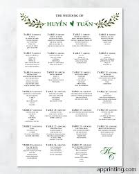 Green And Black Wedding Seating Charts