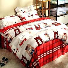 plaid flannel bedding set plaid sheets king winter warm flannel cartoon bear duvet cover set red