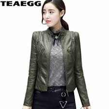 teaegg plus size 3xl army green pu womens leather jacket coat 2018 spring autumn faux women