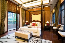 Richly Designed Master Bedroom With Four Poster Bed, Rich, Dark Wood Floor,