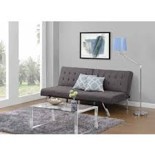 Futon Design Ideas Decorating Grey Tufted Futon Couch With Metal Legs For Home
