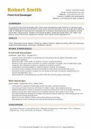 Front End Developer Resume Gorgeous Front End Developer Resume Samples QwikResume