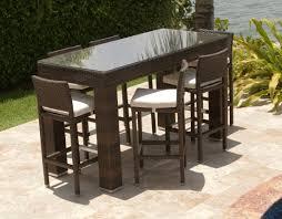 Kitchen Bar Furniture Bar Table And Stools 3pc Wicker Bar Set Patio Outdoor Backyard