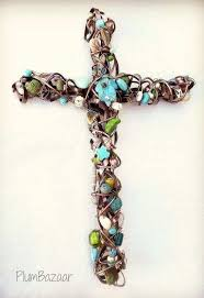 brown and turquoise wall art best of handmade wire wrapped beaded rh emilygarrisonphotography com large crosses to hang on the wall religious wall crosses
