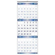 17 Month Calendar Three Month 17 Month 2018 Wall Calendar