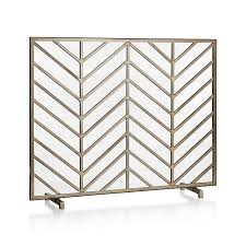 bold chevrons lend a mid century look to ana reza hadden clean graphic fireplace screen each screen is handmade by welding multiple iron wires together