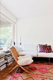 pink and white and wood living room