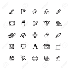 office design tool. Graphic Design Tools, Creative, Office Stationery Line Thin Icons Set. Tool For