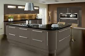 Black High Gloss Kitchen Doors High Gloss White J Section Kitchen With Black Granite Worktop By
