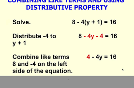 solving multi step equation using distributive property and combining like terms