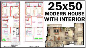 25x50 house plan with interior east