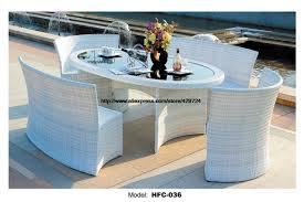 elegant white rattan garden set modern rectangle table 4 rattan chair set leisure balcony garden furniture combination set 1 6m in garden sets from