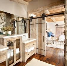 Bathrooms:Rustic Bathroom With Rustic Sliding Barn Door And Rustic Vanity  Cabinet 15 Modern Rustic