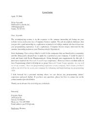 Cover Letters For College Students Cover Letter For Internship For