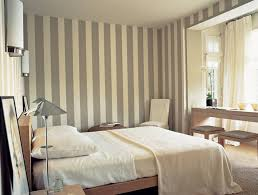 Comfortable Bedroom Inspiration With Grey And White Striped Wall Ideas With  Contemporary Bedding Set