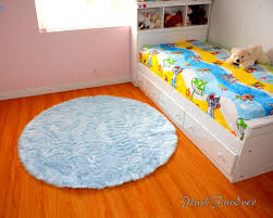back to look fashionable round blue rug