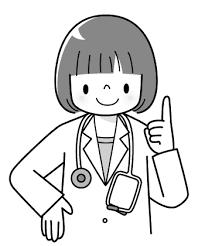 女医さんのイラスト1かわいいお医者さんモノクロ 子供と動物の