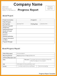 Simple Progress Report Template Dalefinance Com