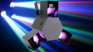 beamz colour led triple scanner head disco house party rgb light dj dmx lighting