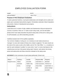 Employee Evaulation Form Free Employee Evaluation Form Pdf Word Eforms Free Fillable