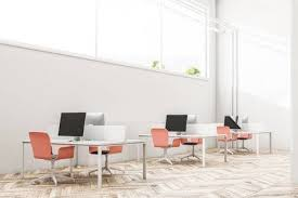 Industrial Office Design Beauteous White Wall Industrial Style Office Interior With A Wooden Floor