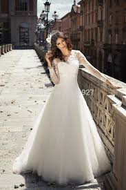 italian wedding dresses. White Lace Wedding dress 2015 Long sleeves A Line stunning Organza