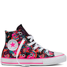 converse shoes for girls high tops. converse chuck taylor all star hi top - neon floral 654210c 3 girls\u0027 shoes trainers,converse tops cheap,official shop for girls high