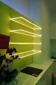Led Floating Glass Shelves Beauteous Kitchen Led Lighting Ideas Floating Glass Shelves With Led Light