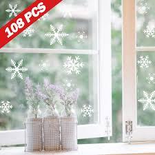 Lamantt Schneeflocken Fensterbilder 108 Schneeflocken Aufkleber Weihnachtsdeko Für Fenster Statisch Haftende Pvc Fensteraufkleber Weihnachten Für