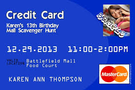 Credit Card Party Invitations Credit Card Birthday Invitations All Colors