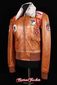 las top fur collar tan washed lambskin leather aviator er style womens blouson jacket customjackets