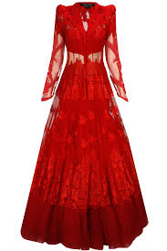 Red Net Dress Design Red Embroidered Lace Jacket With Net Flared Lehenga
