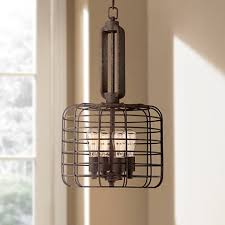 Industrial Cage 14 12 Wide Rust Metal Pendant Light W8377