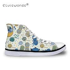 Sneakers With Yarn Design Us 26 59 30 Off Elviswords Ball Of Yarn Printing Womens Vulcanize Shoes Ladies High Top Canvas Shoes For Female Fashion Design Walking Footwear In